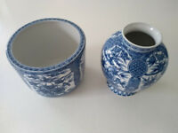 M&S Ceramic Japanese style matching Flower Pot / Planter and Vase. No chips or cracks