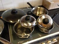 Three Pots and Pans and Frying Pan