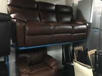 New / Ex Display LazyBoy Tan Brown Electric Leather 1 Seater Chair + 3 Seater Sofa Recliner