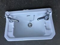 FREE TO GO Used Wall hung cloakroom basin sink with chrome taps