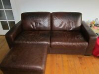 leather sofa large two seater with large pouffe.