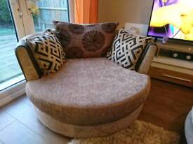 Dfs Mink Swivel Chair with Pillow Back Cushions, DELIVERY AVAILABLE