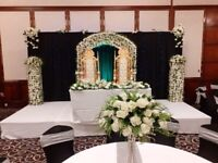 Asian Wedding stages hire, Mendhi stages, house lighting, centrepieces, chair covers etc