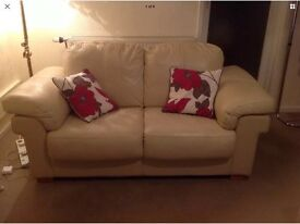 2 Leather Toffee Coloured Sofas 1x2 & 1x3 Seaters Excellent Condition