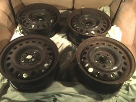 "4x Mercedes W124 15"" Steel Rims (6.5Jx15 ET48)"