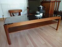 Vintage Retro 'Myer' Teak & Smoked Glass Coffee Table (Large)