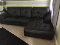 Black leather left hand corner sofa