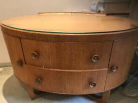 Vintage oak oval dressing table