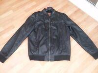 Next black leather casual jacket large