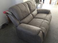 2 X GREY FABRIC TWO SEATER SETTEES PLUS FOOTSTOOL