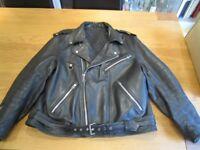 "Hein Gericke leather motorcycle jacket - size 60 (c.50"") Brando style with Harley Davidson patch"