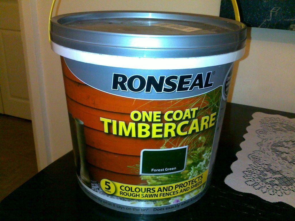 ronseal one coat timbercare 2 x tubs at 5 each 1 x. Black Bedroom Furniture Sets. Home Design Ideas