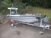 Rib Boat 4M With Yamaha 25HP 4 Stroke Outboard Engine A Frame With Nav Lights Stereo And Trailer