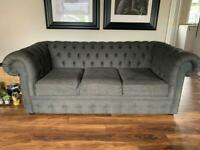Grey 3 seater Chesterfield couch sofa
