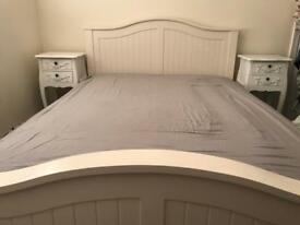 Solid wood bed frame and orthopaedic memory foam mattress