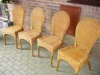 4 wicker dining chairs all in good condition