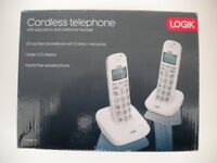 LOGIK CORDLESS DIGITAL TELEPHONE TWIN SET LARGE BUTTONS