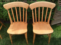 Pair of strong traditional solid wood farmhouse chairs