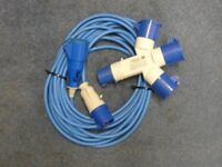16 amp, 240 volt shore supply cable for use with boats or camping plus 3-way splitter