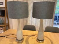Laura Ashley table lamps in cream and grey