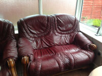 two leather seater setees
