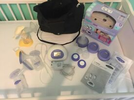 Lansinoh double breast pump and medela hand pump