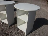 PAIR OF MATCHING CIRCULAR MELAMINE TABLE/CABINETS