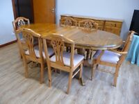 Ducal solid pine dining table, 6 chairs and sideboard (priced to go).