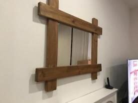 Solid wood farmhouse style large mirror