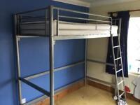 metal frame high bed