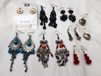 Women's dangle earrings bundle, x8
