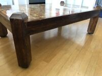 Hand-crafted, well-built, sturdy wooden coffee table