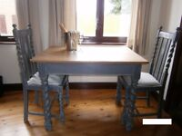 Shabby Chic Oak Drop Leaf Table and 2 Chairs