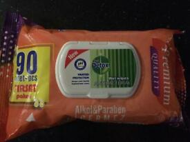 Detox antibacterial 80 wipes in a packet box of 24