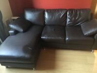 Used black leather sofa w/right corner for sale