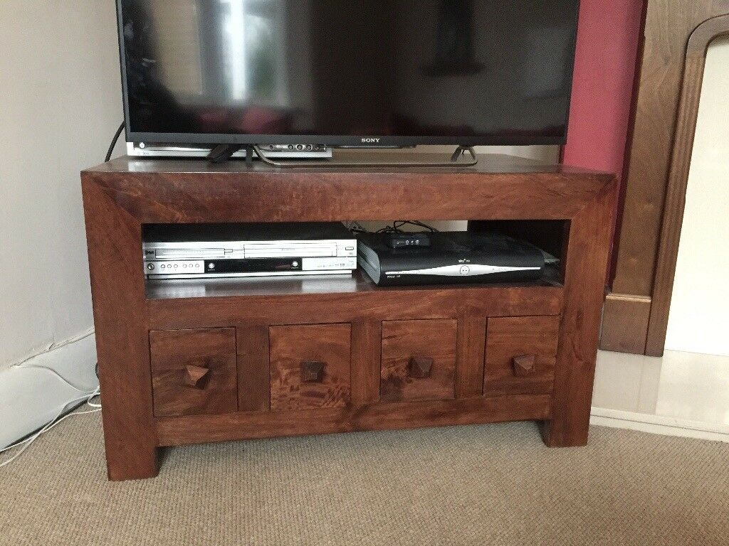 dark mango wood dakota range tv storage unit in. Black Bedroom Furniture Sets. Home Design Ideas