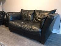 Two Seater Leather Sofa and Foot Stool