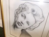 Framed drawing of Marilyn Monroe very good condition