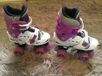 Osprey Girls Quad Roller Skates Size 13-3 Adjustable Purple/White