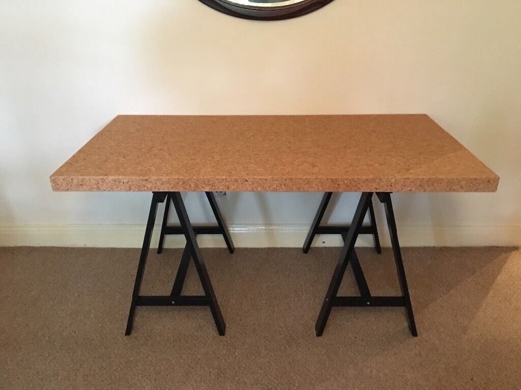 Ikea Sinnerlig Cork Table Top And Trestle X2 In