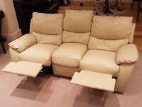 Reclining Cream Leather 3 seater sofa. Great Condition!