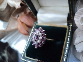 Reduced Beautiful genuine 9ct gold hallmarked vintage ruby and diamond ring size N