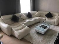 Cream leather cinema suite sofa