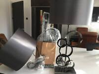 Dark grey lampshades gunmetal bases x2 bedside table lounge lamps