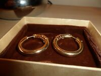 9ct gold hoop earrings.