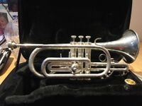 A Blessing Cornet, silver, in excellent condition, black carry case and extra mouthpiece