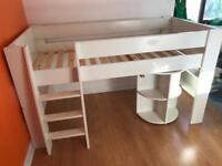 Steens white mid sleeper bed with pullout desk