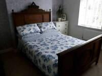 Antique oak double bed