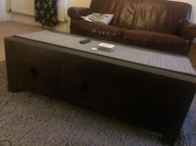 Dark wood TV unit and coffee table