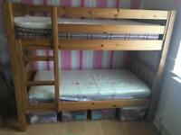 Antique solid pine shorty bunk, with mattresses & memory toppers.